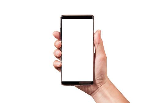 手持黑色智慧手機在白色修剪路徑隔離在裡面的人手 照片檔及更多 一個人 照片