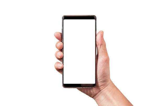 man hand holding black smartphone isolated on white clipping path inside - using cell phone stock photos and pictures