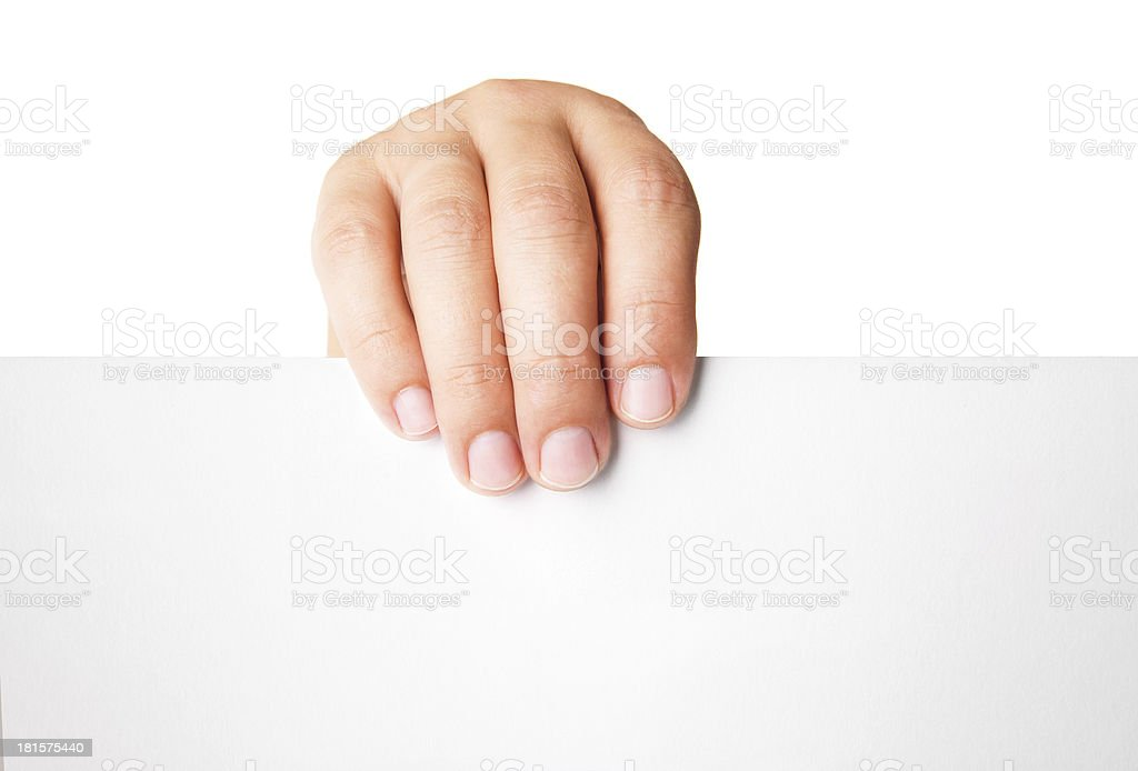 Man hand holding blank advertising card on white royalty-free stock photo