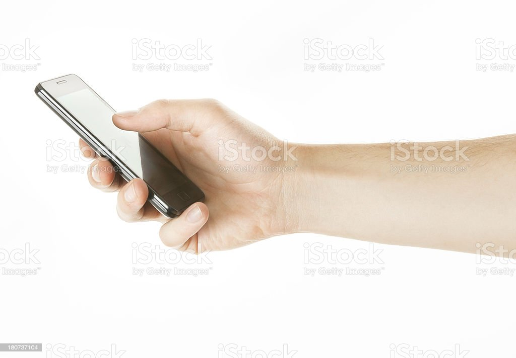 man hand holding blank smartphone on white, sideview royalty-free stock photo