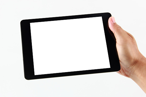 Man hand holding blank tablet computer on white background