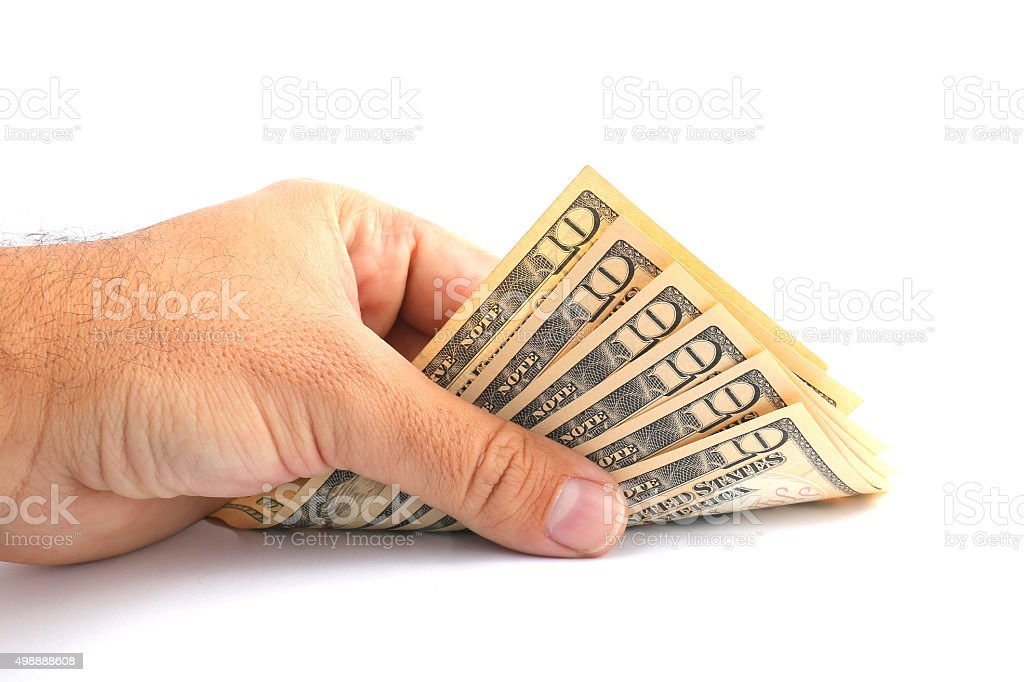 man hand holding dollar stock photo