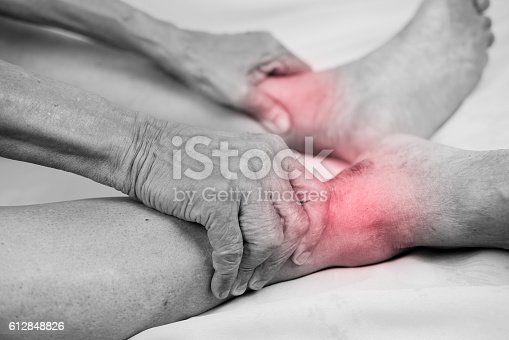 1133511905istockphoto man hand holding he healthy foot and massaging ankle 612848826