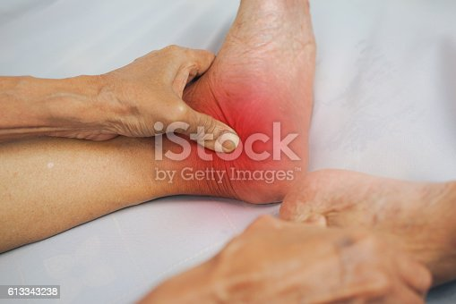 1133511905istockphoto man hand holding healthy foot and massaging ankle 613343238