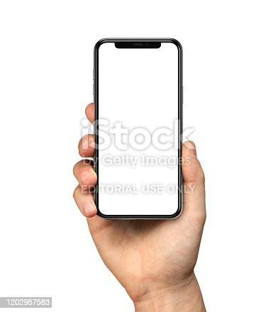 Man hand holding iPhone 11. The black Apple iPhone 11 Pro with blank screen template - modern frameless design