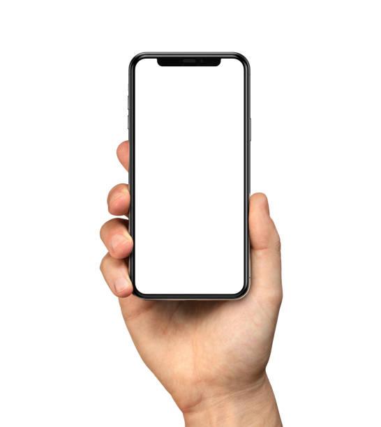 mano dell'uomo che tiene iphone 11 - smart phone foto e immagini stock