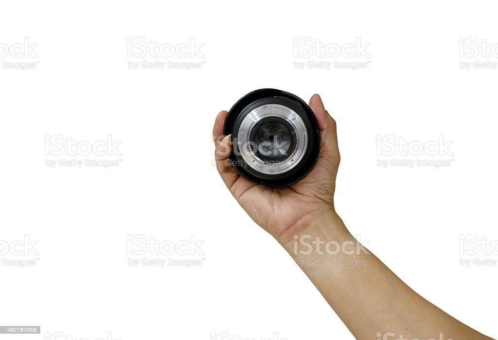 man hand holding lens black and white tone. stock photo