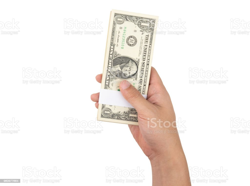Man hand holding one hundred dollar money bills isolated on white background with clipping path. stock photo