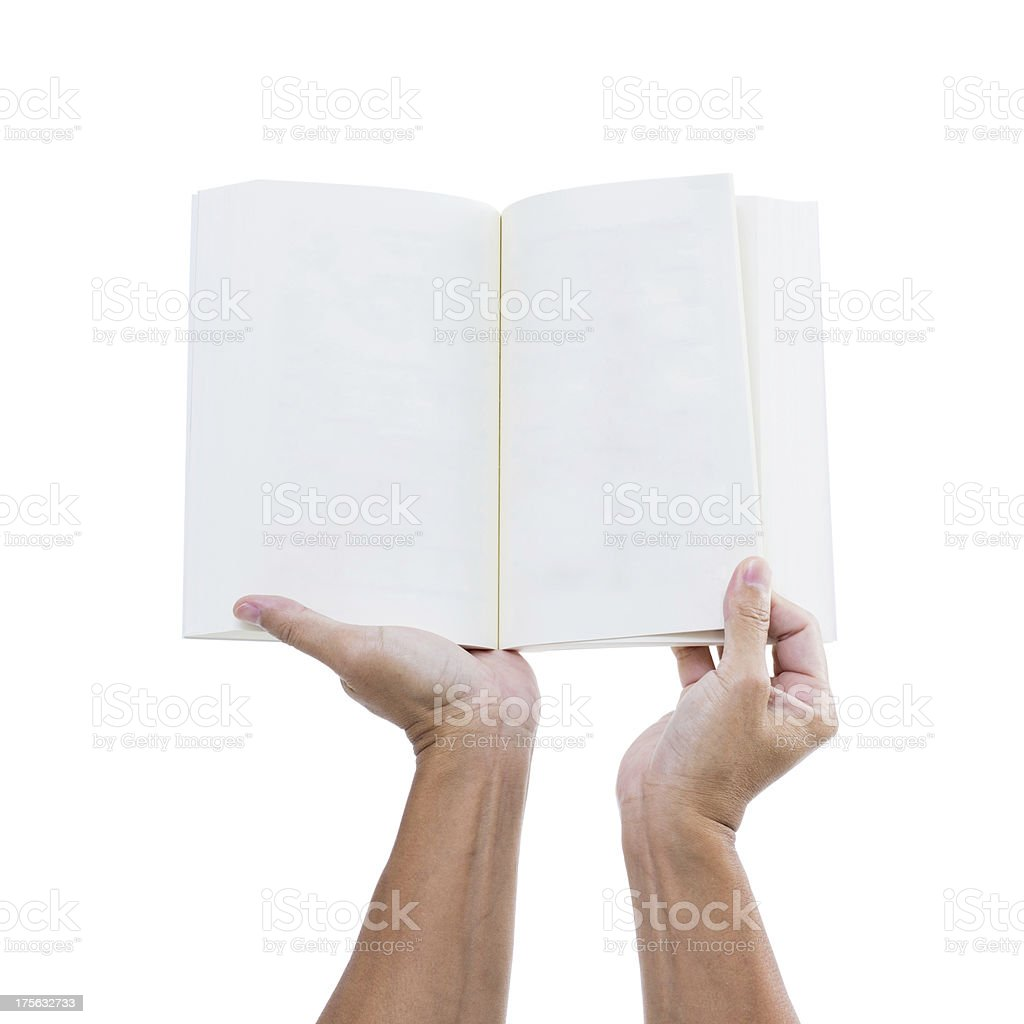 Man hand holding open book isolated on white background royalty-free stock photo