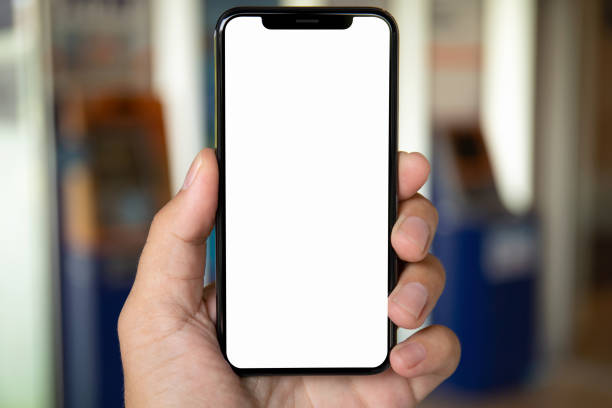 Mann Hand mit Telefon mit isolierten Bildschirm – Foto