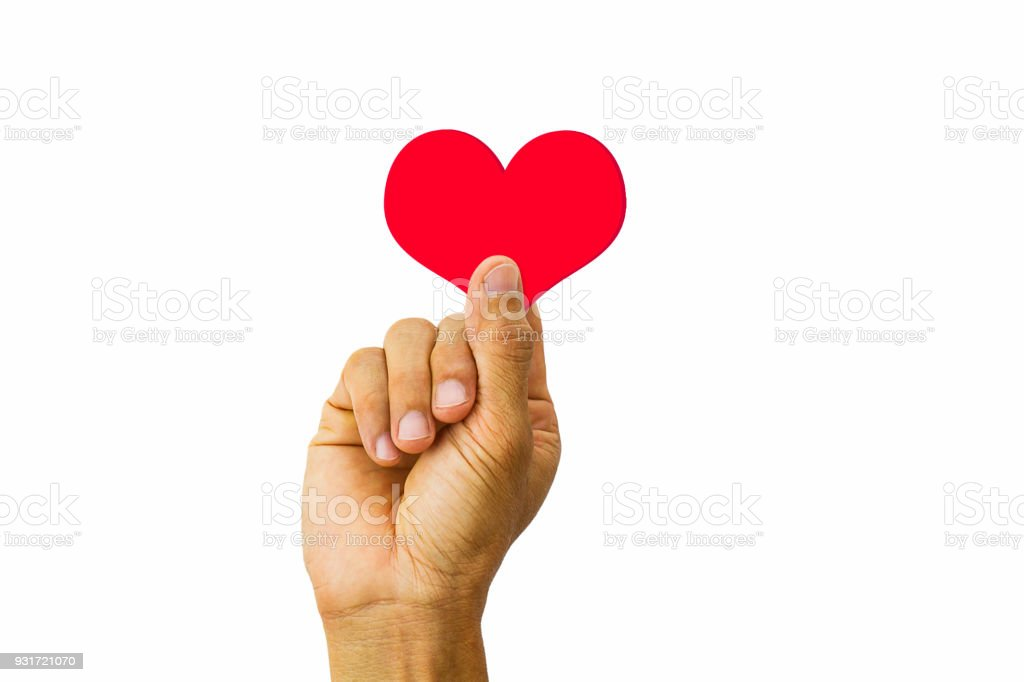 Man Hand Holding Red Heart On White Background Stock Photo More