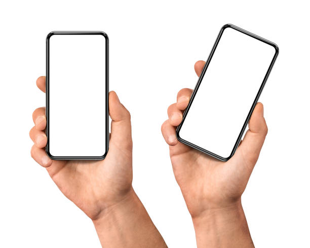 hand mit dem schwarzen smartphone mit leerem bildschirm - menschliche hand stock-fotos und bilder