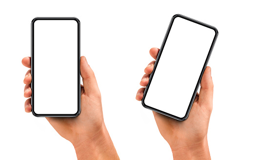 Man hand holding the black smartphone with blank screen and modern frame less design