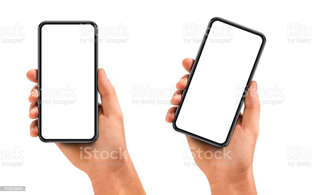 Man hand holding the black smartphone with blank screen and modern frame less design stock photo