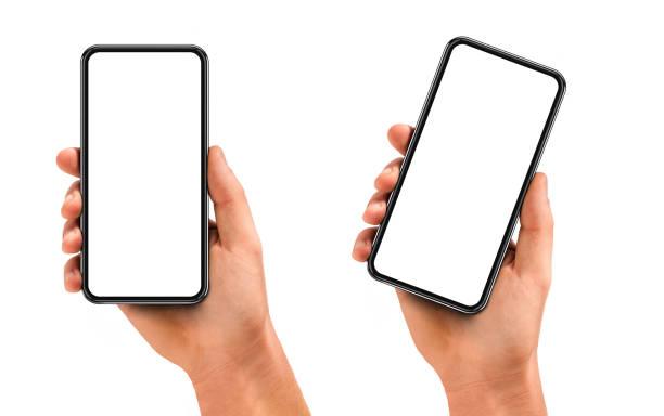 남자 손을 잡고 빈 스크린 및 현대적인 프레임 블랙 스마트폰 적은 디자인 - hand holding phone 뉴스 사진 이미지