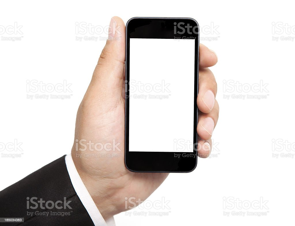 man hand holding the phone with isolated screen royalty-free stock photo