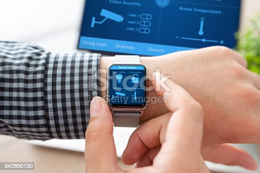 istock man hand in watch with smart home and computer 542950130