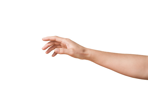 man hand is touching something like a screen monitor isolated on white backgrounds