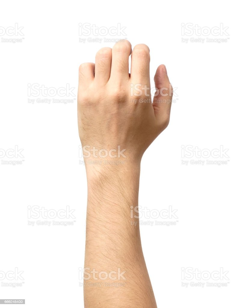 Man hand isolated on white background, hold, grab or catch stock photo