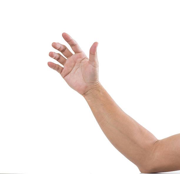 Man hand isolated on white background stock photo