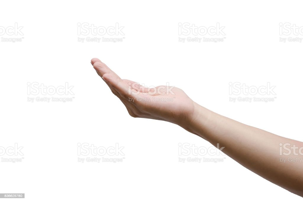 man hand open and ready to help or receive. Gesture isolated on white background with clipping path. stock photo