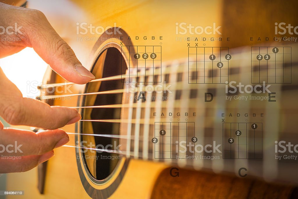 Man hand playing on acoustic guitar. Close-up. stock photo