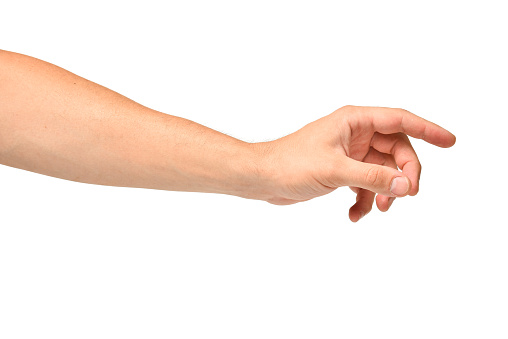 Man hand stretches out to take, arm body part of people isolated on white background.