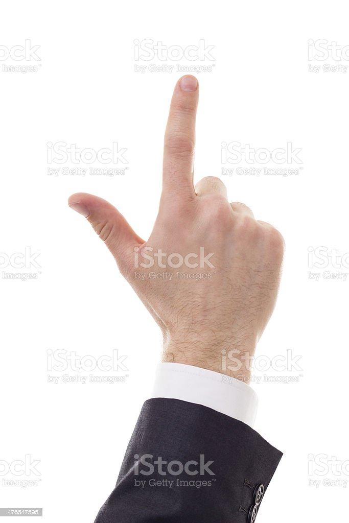 Man hand touching stock photo
