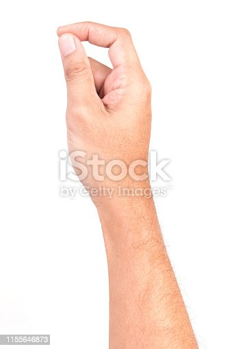istock Man hand touching screen Isolated on white background. 1155646873