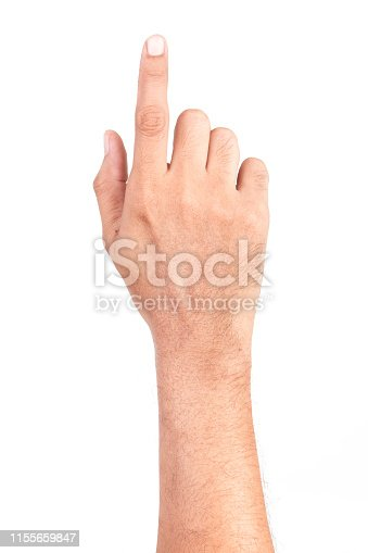 istock Man hand touching screen Isolated on white background. 1155659847