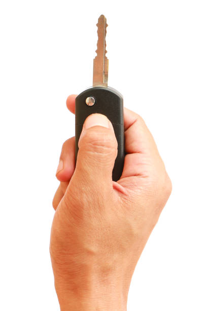 Hand des Mannes mit Auto-Fernbedienung – Foto