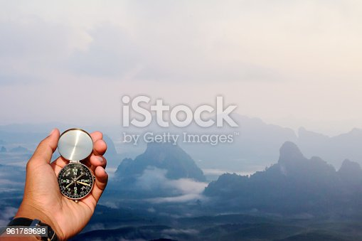 1149464558 istock photo Man hand with a black and silver compass in green mountain blur. 961789698