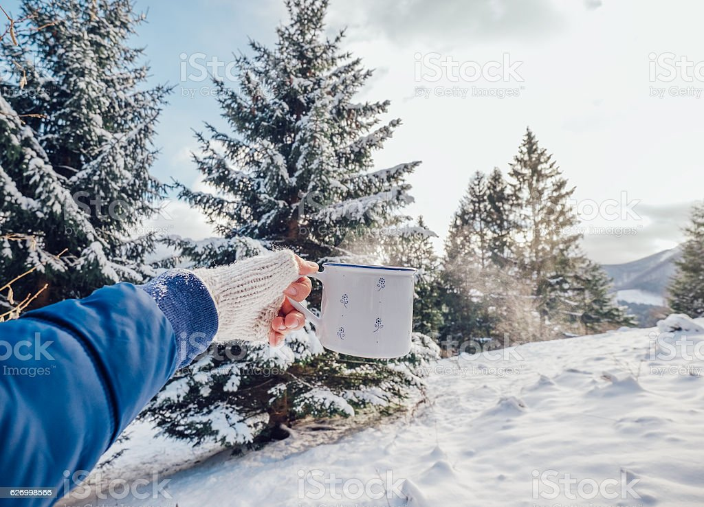 Man hand  with cup of hot tea with snow forest background stock photo