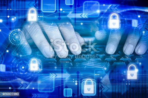 istock man hand working on computer laptop keyboard with safety security padlock icons 920322380