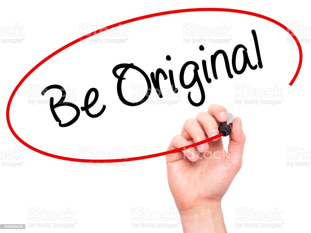 Man Hand writing Be Original with black marker on visual screen stock photo