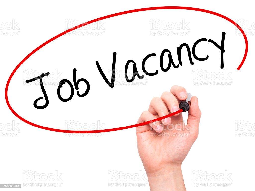 Man Hand writing Job Vacancy with marker on visual screen stock photo