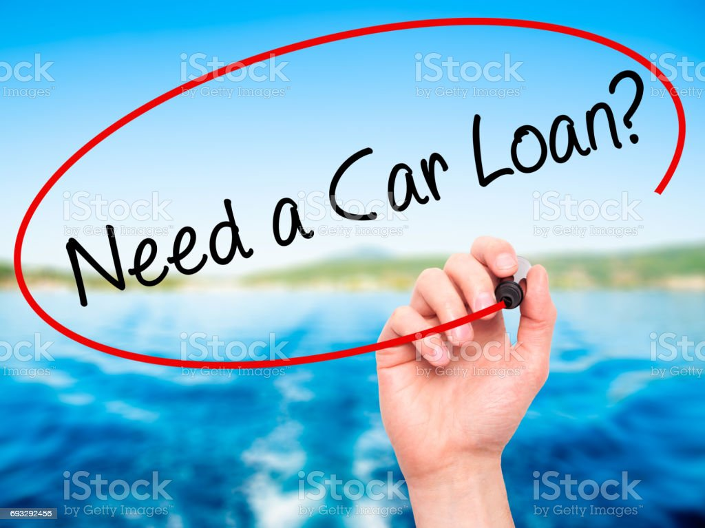 Man Hand writing Need a Car Loan? with black marker on visual screen stock photo