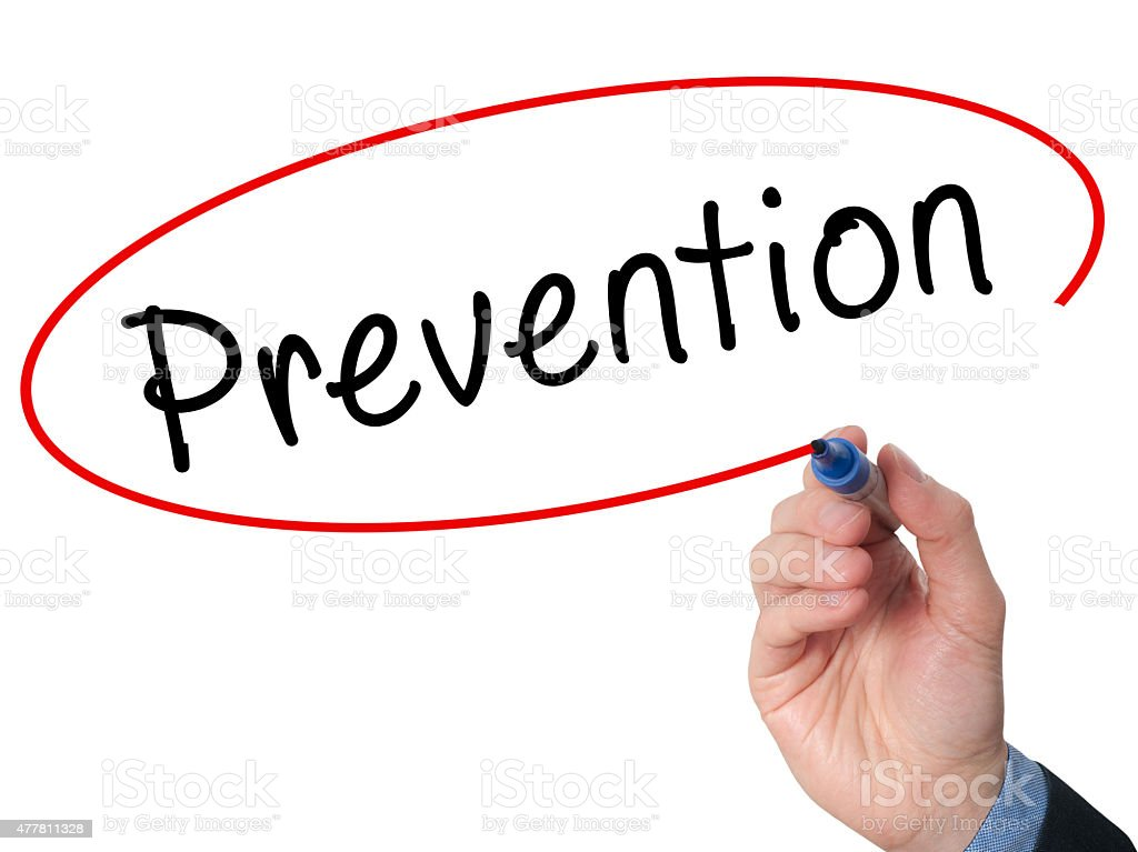 Man Hand writing Prevention with marker on visual screen. stock photo