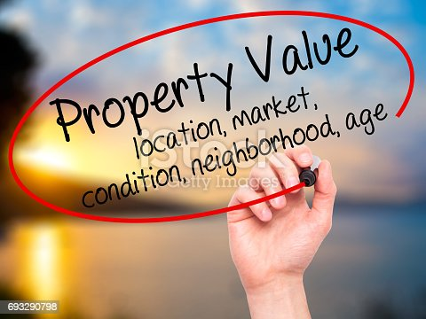 915688450istockphoto Man Hand writing Property Value - location, market, condition, neighborhood, age with black marker on visual screen 693290798
