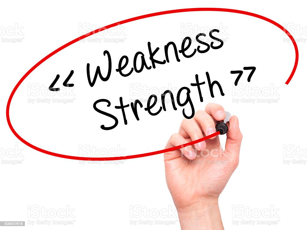 Man Hand writing Weakness - Strength with black marker stock photo