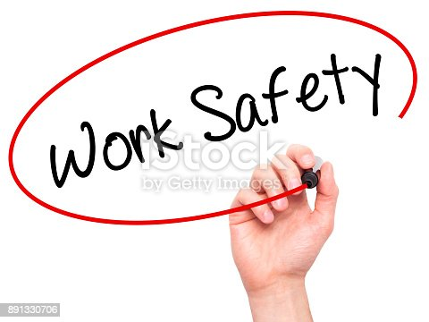 istock Man Hand writing Work Safety with black marker on visual screen 891330706