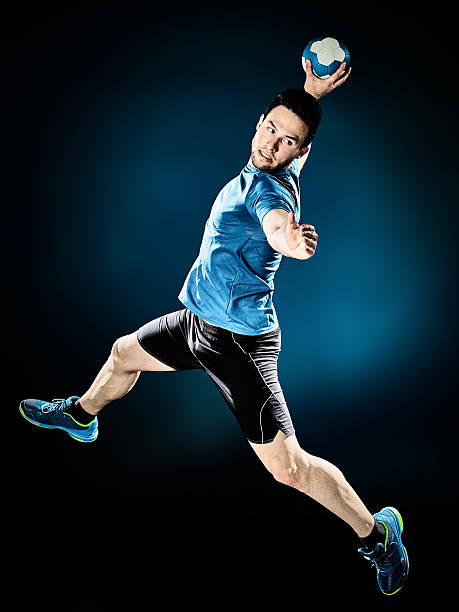 man handball player isolated - handboll bildbanksfoton och bilder