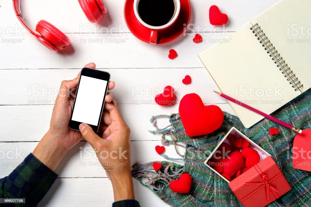 Man handen geven leeg scherm smartphone - Royalty-free Beeldscherm Stockfoto
