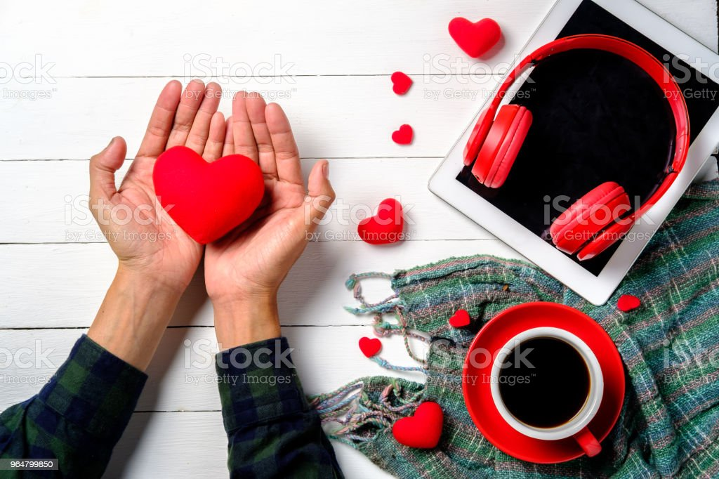 Man hands giving red heart royalty-free stock photo