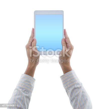 899410700 istock photo Man hands hold digital tablet isolated on white background 477958681
