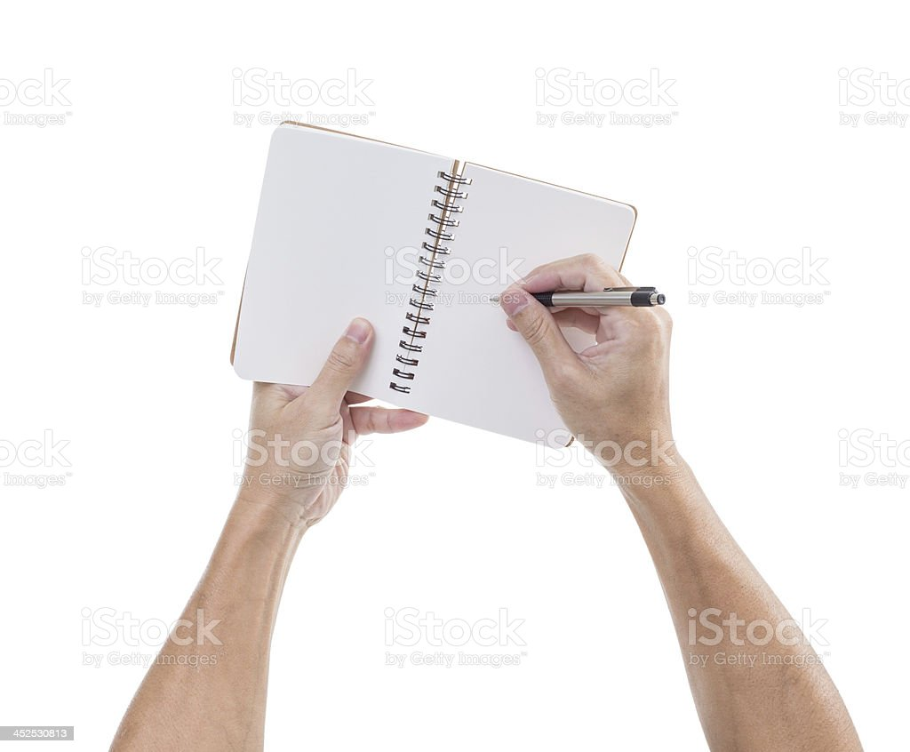 Man hands hold notebook and pen stock photo
