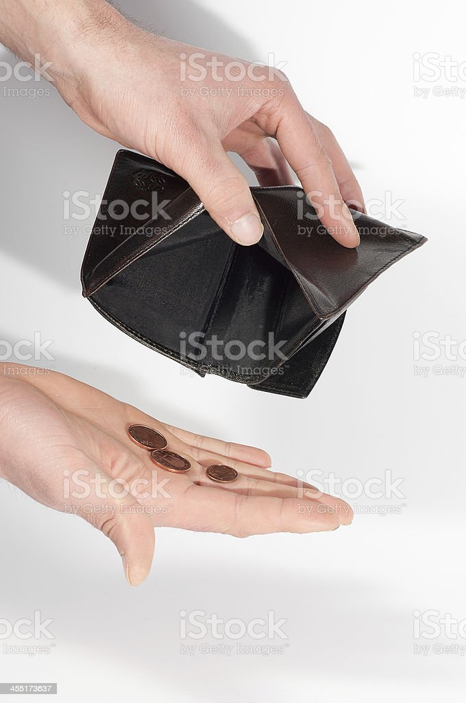 Man hands holding an empty wallet and some euro coins stock photo