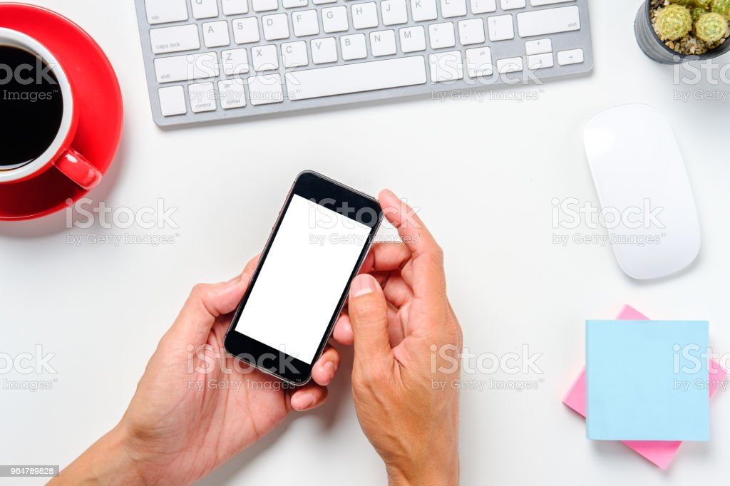 Man hands holding blank screen a smartphone royalty-free stock photo