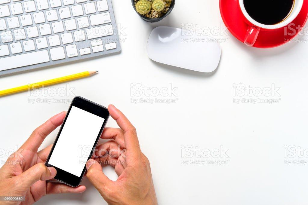 Mannhände halten leeren Bildschirm ein smartphone - Lizenzfrei Büro Stock-Foto