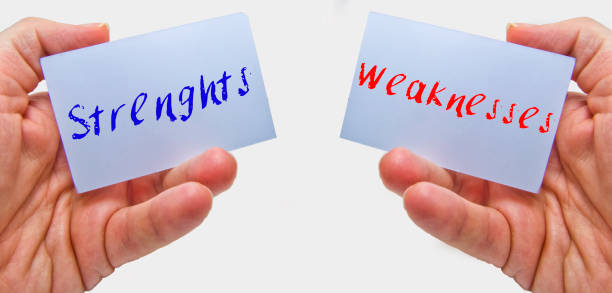 man hands holding cards with the words strenghts and weaknesses for swot analysis - decrepitude stock pictures, royalty-free photos & images